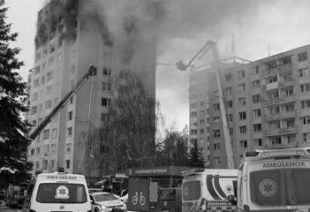Pomoc ľuďom po výbuchu v meste Prešov